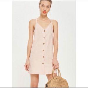 TopShop Pink Linen Mini Slip Dress Button Front 8